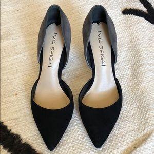 Via Spiga heels - Black and grey suede. Size 5.